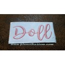 Patch ecusson thermocollant Doll pink on white rose sur blanc