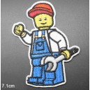 Patch ecusson thermocollant mecano lego brick man mecanic