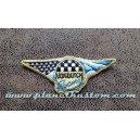 Patch ecusson von Dutch racing damier USA flag blue gold old stock