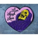 Patch ecusson skull skulletor live laugh love coeur fond rose