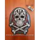 patch ecusson thermocollant grande taille skull bones tribal