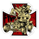 Sticker rat fink rod on iron cross d.Vicente 16
