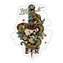 Sticker skull  & snake poignard 8 ball eye F.T.W d.Vicente 35