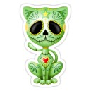 Sticker green zombie sugar kitten cat dia de los muertos 18