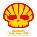 Sticker skhell skull hell raping the earth since 1892 racing 2
