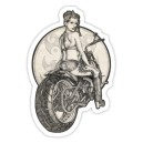 Sticker motorcycle tattooed girl nb  old pin up 35