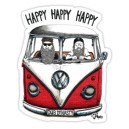 Sticker kombi happy dub dynasty barbers mens on split bus vw 12